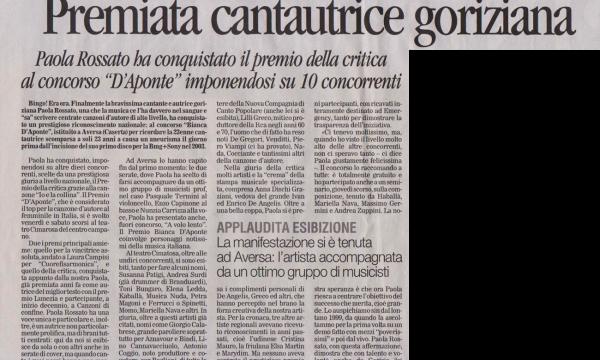 Premiata cantautrice Goriziana ad Aversa