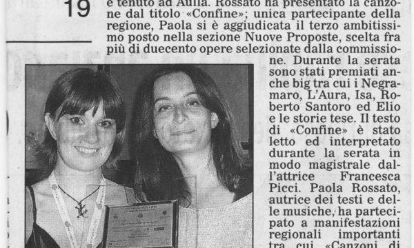 Paola Rossata premiata al festival di Aulla