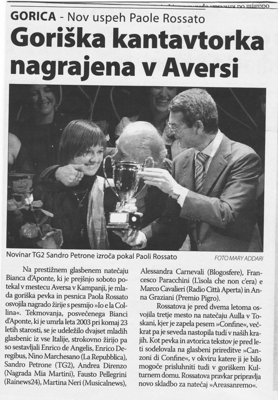 Paola Rossato nagrajena v Aversi