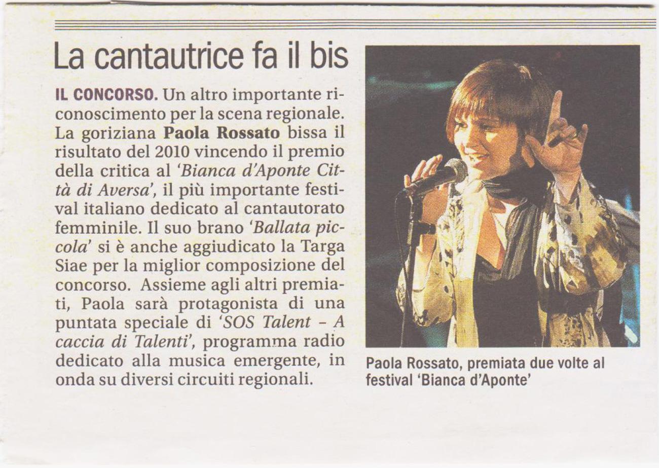 Paola Rossato La cantautrice fa il bis