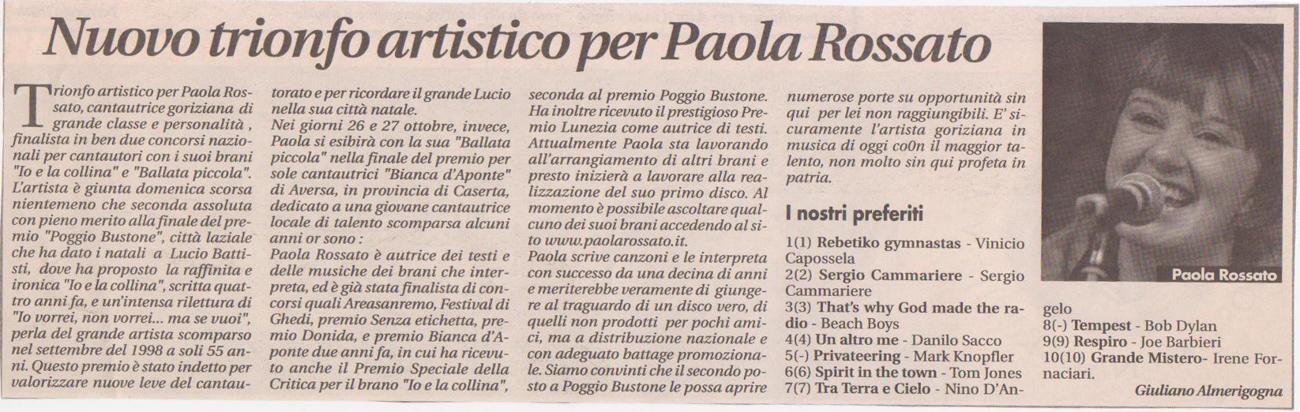 Nuovo trionfo artistico per Paola Rossato