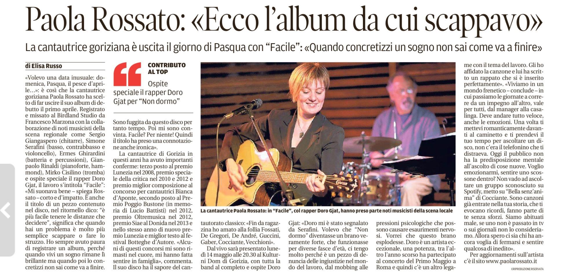 Paola Rossato - Ecco l'album da cui scappavo - Il Piccolo 04 aprile 2018